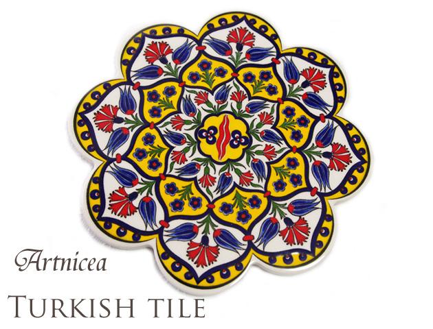 170209トルコタイル 鍋敷き 花型 Artnicea KUTAHYA デザインプレート ブルーチューリップ&カーネーション イエロー141